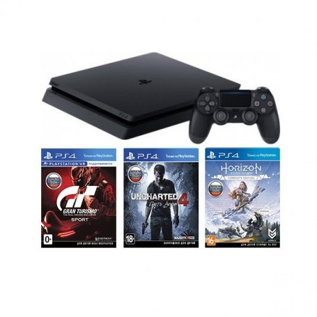PS4 Slim 500GB + Три игры