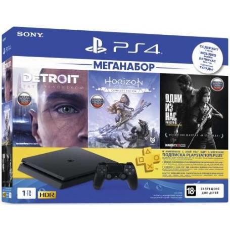 Sony PlayStation 4 Slim 1ТБ Меганабор c 3 играми и подпиской PS Plus