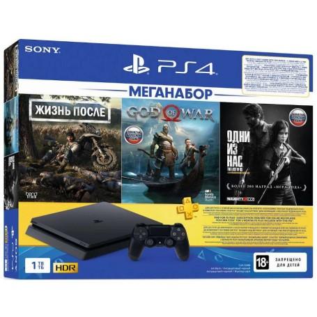 Sony PlayStation 4 Slim 1ТБ c 3 хитами и подпиской PS Plus